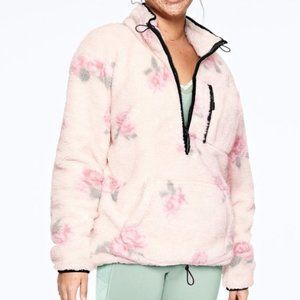 PINK Victoria's Secret Floral Teddy Half Zip Sherpa Pullover Overesized Large L